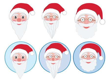 set of Santa Claus face illustrations Vector
