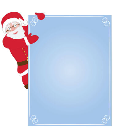 Santa Claus hanging on blue congratulation card Vector