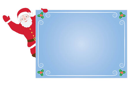 Santa Claus hanging on congratulation card Vector