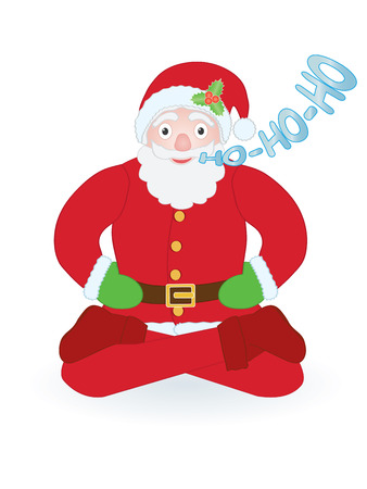Santa Claus sitting as yogi over white Vector