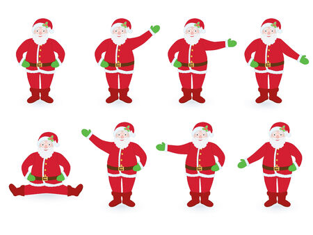 set of Santa Clauses pointing in different directions Vector