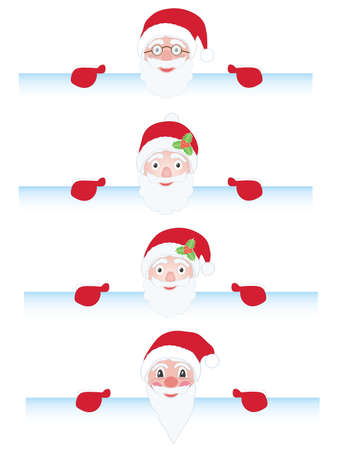 set of Santa Claus behind page illustrations Vector