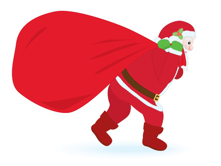 Santa Claus carrying huge sack with gifts Vector