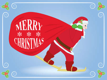 Christmas background with Santa Claus skiing with sack Vector