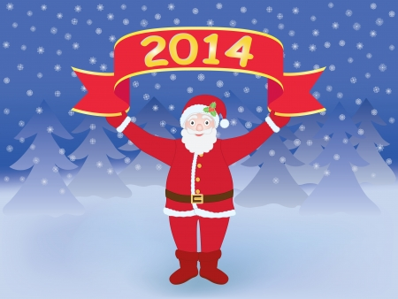 Santa Claus holding New Year 2014 banner Vector