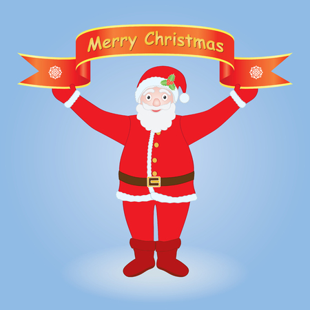 Santa Claus holding Merry Christmas banner over blue background Vector
