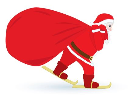 Santa Claus skiing with huge sack Vector
