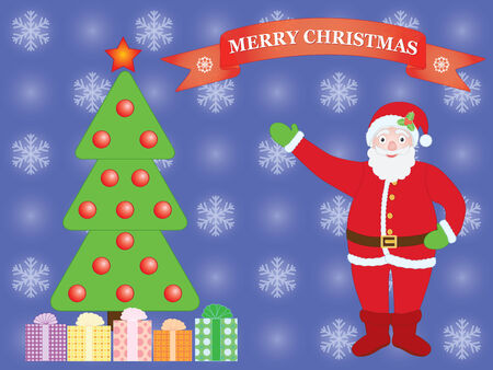 Merry Christmas background with Santa Claus Vector