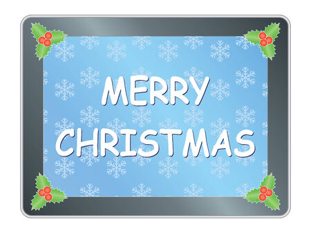 Merry Christmas congratulation on tablet pc Vector