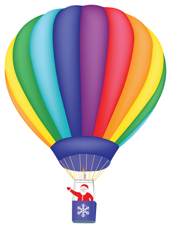 Santa Claus flying on air balloon over white Vector