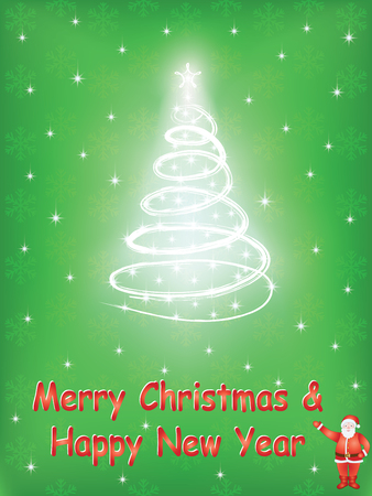 green Merry Christmas and Happy New Year background Vector