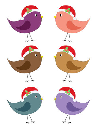 set of birds in Santa hats Vector