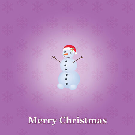 violet Christmas background with snowman Vector