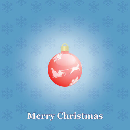blue Merry Christmas background with Xmas ball Vector