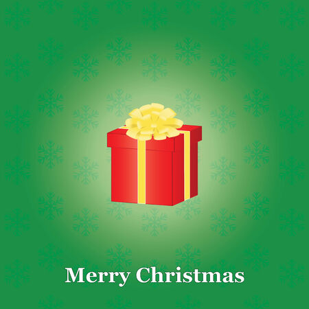 green Merry Christmas background with present box Vector