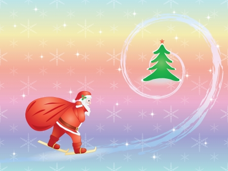 Santa Claus with sack skiing to Christmas tree Vector