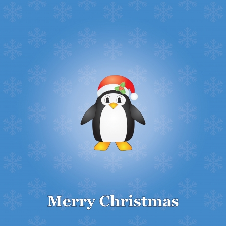 blue Merry Christmas background with penguin Vector