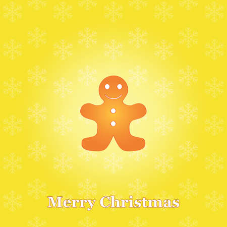 yellow Merry Christmas background with gingerbread man Vector
