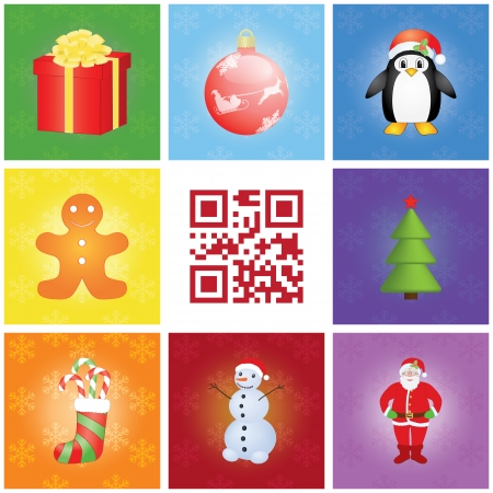 seamless Christmas patern with qr code Merry Christmas Vector