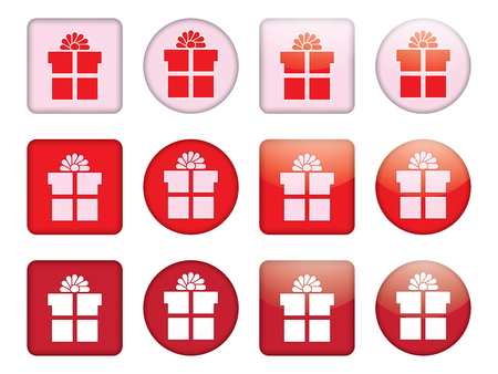 present box: set of buttons with present box Illustration
