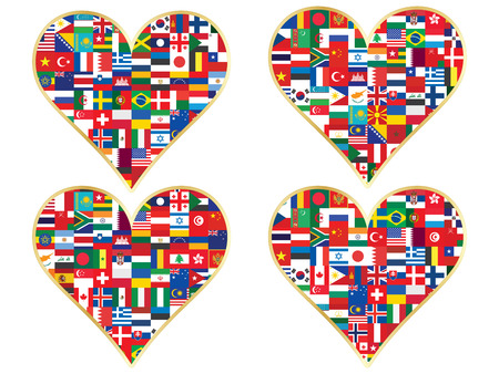 set of valentines made of flags icons Vector