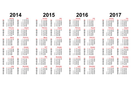 calendar from 2014 to 2017 years Vector