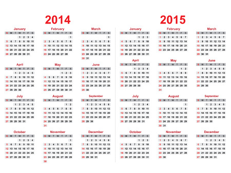 2014 and 2015 years calendar Vector