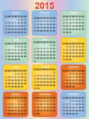 colorful 2015 year calendar Vector