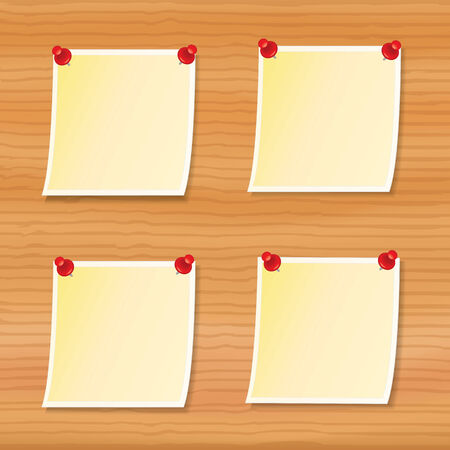 four blank notes pinned to wooden board Vector