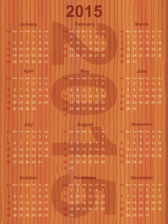 calendar for the year 2015 on wooden board Vector