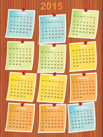 calendar 2015 on notes pinned to wood Vector