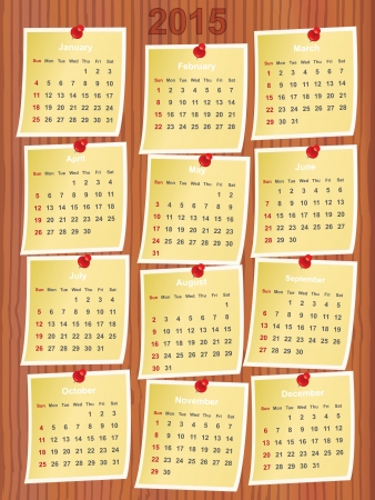 calendar 2015 on notes pinned to wooden board Vector