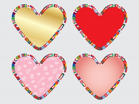 set of valentines with border made of flags icons Vector