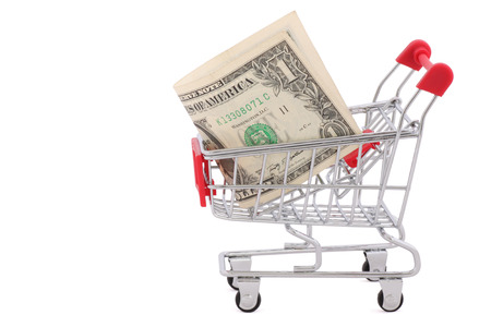 shopping cart with one dollar banknote photo