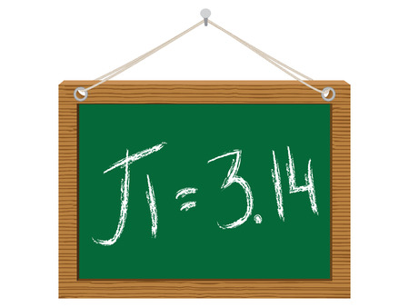 number pi on green chalkboard Vector