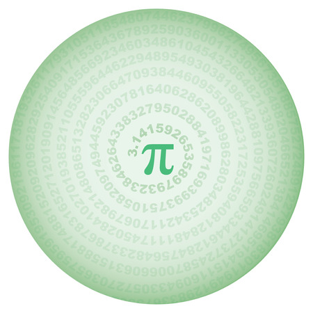 green circle with number pi over white
