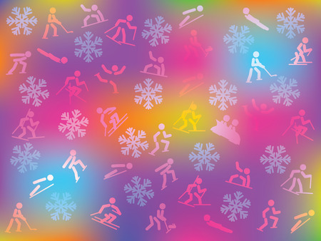 bobsleigh: colorful snowflakes and winter sports icons