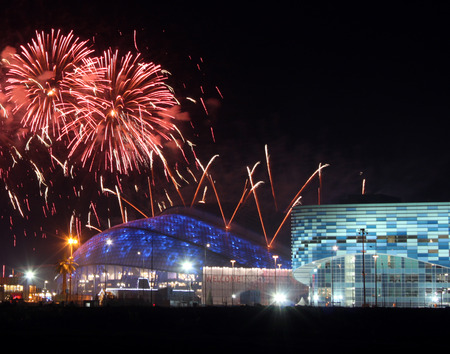 SOCHI, RUSSIA - FEBRUARY 23, 2014  fireworks above olympic park at XXII Olympic Winter Games closing ceremony