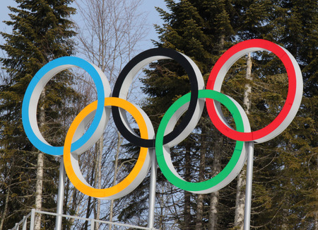 olympic rings: SOCHI, RUSSIA - FEBRUARY 23, 2014  olympic rings on Cross-country ski center Laura at Sochi 2014 XXII Olympic Winter Games