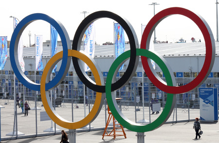 olympic ring: SOCHI, RUSSIA - FEBRUARY 20, 2014  olympic rings near olympic park at Sochi 2014 XXII Olympic Winter Games