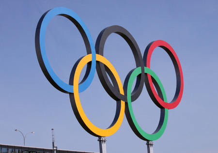 olympic symbol: SOCHI, RUSSIA - FEBRUARY 20, 2014  olympic rings near olympic park at Sochi 2014 XXII Olympic Winter Games