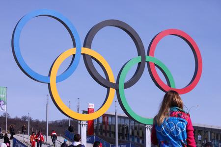 olympic symbol: SOCHI, RUSSIA - FEBRUARY 20, 2014  olympic rings near olympic park at Sochi 2014 XXII Olympic Winter Games