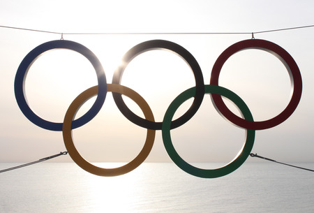 olympic rings: SOCHI, RUSSIA - FEBRUARY 20, 2014  olympic rings over sea at Sochi 2014 XXII Olympic Winter Games Editorial