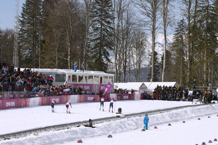 SOCHI, RUSSIA - FEBRUARY 23, 2014  finish of Men s Cross-country 50km mass start competition at Sochi 2014 XXII Olympic Winter Games