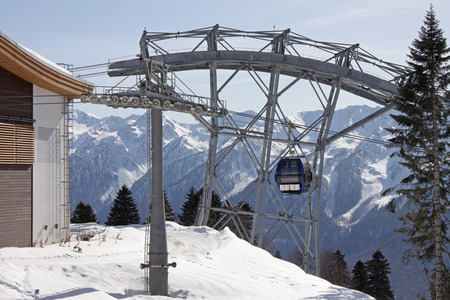 cableway station in Caucasian mountains at winter photo