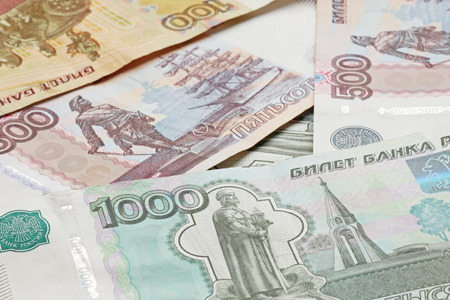 federation: close up of heap of Russian Federation banknotes Stock Photo