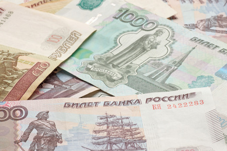 russian federation: close up of heap of Russian Federation banknotes Stock Photo