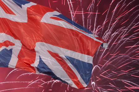Great Britain flag over fireworks photo
