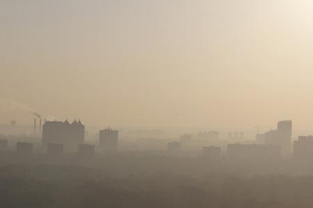 kiev: district of Kiev in fog at morning