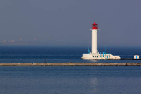sea seaport: view on lighthouse in seaport of Odessa Stock Photo